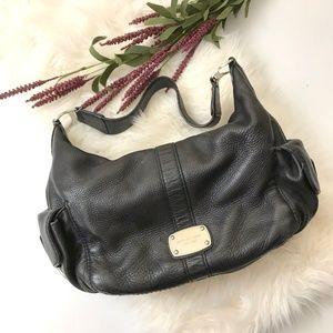 MIchael Kors black leather shoulder bag purse